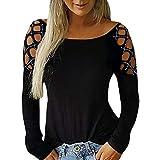 SHOBDW Mujeres Camisetas de Manga Larga Tallas Grandes Cuello en V sólido Camisa de Manga Larga Moda Casual Primavera Otoño Blusa Blusas Sueltas Diseño Cruzado Delantero Camiseta(Negro,XL)