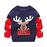 Bebé Navidad Jersey Invierno Manga Larga Pull-over Prendas de Punto Sudaderas Ropa 1-2 Años