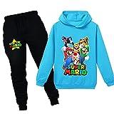 Super Mario Boys Girls Kids Suéter con Capucha para niños pequeños Mario Bros Sudadera Pantalones Traje Sudaderas con Capucha para niños