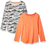 Amazon Essentials Girls' 2-Pack Long-Sleeve Tees Fashion-t-Shirts, Grey Camo/Coral, Large