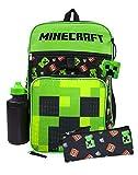 Minecraft Mochila 4 piezas Set Lunch Box Estuche de lápices Botella