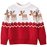 Happy Cherry Suéter Navidad de Niños Niñas Jersey Navideño Vintage Prendas de Punto con Estampado de Renos Ropa de Navidad Rojo 3-4 Años