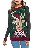 Abollria Suéter de Navidad Mujer,Pullover de Punto Jerséis de Cuello Redondo Suelto Linda y Moda Invierno Manga Larga Jersey Navideño para Mujer