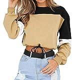 YEBIRAL Sudaderas Mujer,Otoño Invierno Original Tumblr Patchwork Crop Tops Camisas Dobladillo con Cordones SudaderasCortas Sudaderas Adolescentes Chicas