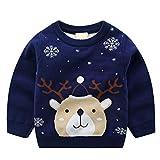 Bebé Jersey de Navidad Sudadera de Punto Suéter Invierno Pull-Over Manga Larga Ciervo Azul 1-2 Años