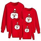 Jersey Reno Navidad Familia Ugly Christmas Jersey Navideño Feo Familiar Jerseys Navideños Familiares Feos Sudadera Navidad Sudaderas Navideñas Familia Pullover Sweatshirt Mujer Niños Divertido Rojo S