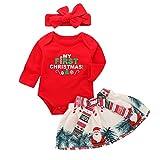 Baby Girls My First Christmas Outfit Vestido de Falda de tutú de Mameluco de Manga Larga Conjunto de Diadema (0-6 Meses, Red 1)