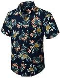 HISDERN Hombre Funky Camisas de piña Hawaiana Manga Corta Bolsillo Delantero Vacaciones Verano Aloha Impreso Playa Casual Azul Marino Hawaii Camisa S