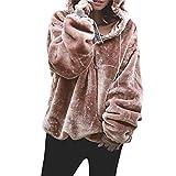 Mujer Caliente y Esponjoso Tops Chaqueta Suéter Abrigo Jersey Mujer Otoño-Invierno Talla Grande Hoodie Sudadera con Capucha riou (Rosa, M)