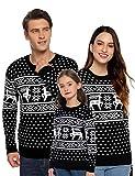 Aibrou Suéter de Navidad para Familia,Jersey de Copos de Nieve de Renos navideños para Mujer Hombre,Jersey Pullover de Punto Vintage de Inviernno Manga Larga para Niño Niña (1# Mamá Negra L)