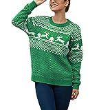 Reooly Suéter navideño para Mujer De Manga Larga O-Cuello Navidad Fawn Jacquard Jersey de Punto Top(Verde,Medium)