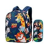 Asge Mochila de 2 piezas para guardería, para niña, con dibujos animados, para niños de 1 a 7 años, mochila escolar, unisex, multifunción, informal