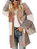 Imily Bela Cárdigan de punto para mujer, parte delantera abierta, a rayas, jersey de invierno, abrigo grueso y elegante, chenilla caqui S
