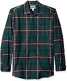 Amazon Essentials - Camisa de franela a cuadros de manga larga y ajuste regular para hombre, Verde (Green/Charcoal Heather Plaid), US XS (EU XS)