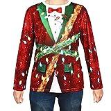BELLE VOUS Jersey Navidad Feo - Camiseta Estampado 3D Grande Diseño con Moño, Oropel y Luces de Navidad - Camiseta Navidad Mangas Largas Suéter Fiesta Navideña, Disfraz Navideño