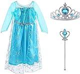 Vicloon Disfraces de Niña, Disfraz de Princesa Elsa & Anna Reina, Corona y Cetro, Vestido de Princesa Elsa para Carnaval, Cosplay, Navidad, Fiesta de Cumpleaños
