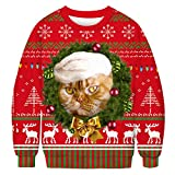 Sudadera Navidad Mujer Jersey Navideño Feo Hombre Sudaderas Navideñas Mujer Divertido Pullover Navidad Ugly Jerseys Navideños Chica Sudadera Navideña Unisex Talla Grande Sueter Oversize Deporte XXL