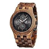 Reloj De Madera para Hombres, CZOKA Reloj de Movimiento de Cuarzo japonés con Pantalla analógica para Hombres con Pulsera de Pterocarpus soyauxii sándalo (Black Walnut)