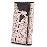 UTO Cartera RFID de Mujer Monedero Largo Moda Diseño Lazo Patrón Lindo Plegable con Bolsillo para Monedas Rosa