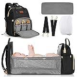 JOSEKO Mochila bebé, cama de viaje plegable para bebé, bolso para madre multifuncional, con mosquitera, gran capacidad #negro