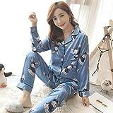 Otoño e Invierno Pijamas de satén para Mujer nuevos Traje de Manga Larga de Seda Pijamas de Mujer Conjunto de Mangas Completas M