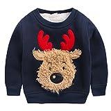Happy Cherry - Ropa Sudadera de Niños Bebés para Invierno Chandal Camiseta Navidad Dibujo de Reno Suéter Grueso Caliente con Terciopelo - Azul - Talla ES 12-18 Meses