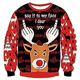 RAISEVERN Hombres Feo suéter de Navidad Reno con Dedos Xmas Pullover Jumpers Negro y Rojo