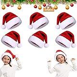 24Pcs Gorro de Papá Noel,Gorro de Navidad para Adultos,Gorro de Papá Noel Gorro de Papá Noel,Gorro Navideño para Niño,Gorro de Navidad de Felpa Suave,Unisex Sombreros Rojos de Navidad (J)