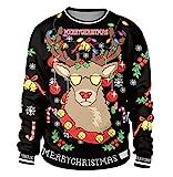 Sudadera Navidad Estampadas Sudaderas Navideñas Unisex Jersey Sueter Navideño Hombre Mujer Reno Sweaters Pullover Cuello Redondo Largas Chica Anchas Deportivas Invierno Camisetas Personalizadas L