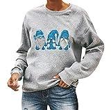 Sudadera Navidad Mujer Jersey Navideño Feo Sudaderas Navideñas Mujer Divertido Pullover Navidad Jerseys Navideños Sudadera Navideña Talla Grande Sueter Oversize Anchas Deporte Tallas Grandes Azul XL