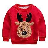 Happy Cherry - Sudadera Niños Grueso para Invierno Ropa Infantil Cuello Redondo Chandal Suéter Navidad Dibujo de Reno - Rojo - Talla ES 18-24 Meses