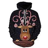 Sudadera Navidad Mujer con Capucha Hoodie Jersey Navideño Reno Feo Hombre Sudaderas Navideñas Mujer Divertido Pullover Navidad Ugly Jerseys Navideños Sudadera Navideña Talla Grande Sueter Deporte S