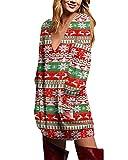 ZANZEA Mujer Jersey Navidad Tallas Grandes Vestidos Sudadera Cuello V Manga Larga Casual Suéter Suelta Camiseta 04-Rojo Verde XL