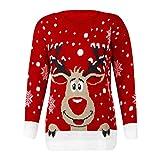 BaZhaHei Patrones de Renos de Jersey navideño para Mujer Punto Floral Imprimir Blusa para Mujer del Blusa de Mujer del Jersey de Manga Larga con Estampado de Alce para Mujer Vacaciones (Rojo 1, M)