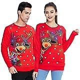 chicolife Suéter de Reno con Luces navideñas para Mujer Suéter Feo de Navidad para Hombre Vacaciones con luz LED Jersey con Copo de Nieve Jersey Casual Rojo Tops para Otoño Invierno XL