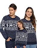 Aibrou Suéter de Navidad para Familia,Jersey de Copos de Nieve de Renos navideños para Mujer Hombre,Jersey Pullover de Punto Vintage de Inviernno Manga Larga para Niño Niña (1# Mamá Navy S)