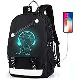 FEWOFJ Mochila Escolar Niño Chico, Luminoso Mochilas Portatil 15.6 Pulgadas con Puerto de Carga USB para Juveniles Adolescentes - Negro