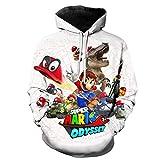 3D Super Mario Bros Hombre Sudaderas con Capucha,3D Divertida Hoodie con Mangas Largas Unisex Streetwear Sudadera Deportiva con Cordón Suéter Chaqueta-A_3XL