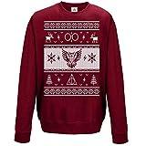 Sudadera de Navidad con estrellas y rayas de manga larga, jersey gracioso impreso Rojo granate XL