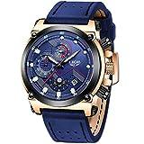 LIGE Hombre Relojes Lujo Moda Impermeable Relojes Clásico Negocios Analogicos Cuarzo Relojes con Ocio Azul Correa de Cuero Relojes