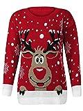 Jersey navideño de Purl® para hombre y mujer, con diseño de Rudolph el reno y copos de nieve, estilo vintage Rojo rosso Small / Medium
