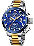 MEGALITH Relojes Hombre Cronografo Reloj Acero Inoxidable Oro Relojes de Pulsera Esfera Azul Analogico Impermeable Luminoso Fecha