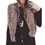 SHOBDW ¡ Promoción navideña Mujeres Faux Chaleco de Piel sin Mangas Abrigo Chaqueta de Pelo Largo Chaleco (marrón, M)