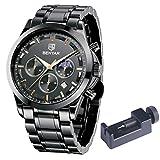 Relojes de Acero Inoxidable para Hombre BENYAR Cronografo Movimiento Cuarzo 3AMT Impermeable Diseño Casual de Negocios Relojes de Pulsera Regalo Elegante