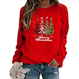 Sudadera Navidad Mujer Jersey Arbol Navideño Feo Sudaderas Navideñas Mujer Divertido Pullover Navidad Ugly Jerseys Navideños Adolescente Chica Sudadera Navideña Talla Grande Sueter Navideño Rojo M