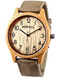 Alienwork Reloj Hombre Mujer Amarillo Pulsera de la OTAN Verde Bambú Natural Hecho a Mano