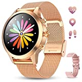 GOKOO Smartwatch Mujer Reloj Inteligente Pulsera de Actividad IP68 Impermeable Pulsómetros Elegante Reloj Inteligente Fitness Reloj Metal Monitoreo del Sueño Notificación Compatible con Android iOS