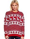 Divadames Puentes de Navidad para mujer con diseño de reno y copos de nieve, con pompón de Rudolph