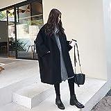 zysymx Abrigo Mujer Otoño Moda Abrigo de Mujer Estilo Largo Bolsillo Abrigo de Lana marrón para Mujer Abrigo Informal de Gran tamaño Negro Suelto