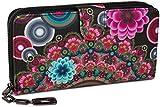 styleBREAKER Monedero con Motivo de Flores étnicas y floración, diseño Vintage, Cremallera, Mujeres 02040040, Color:Negro-Rojo-Fucsia